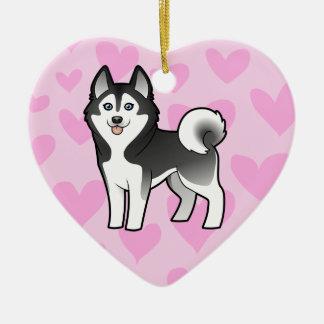 Amor del husky siberiano/del Malamute de Alaska Ornamento Para Arbol De Navidad
