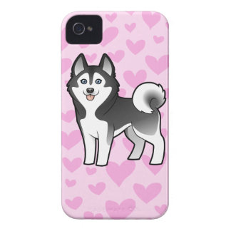 Amor del husky siberiano/del Malamute de Alaska iPhone 4 Carcasa