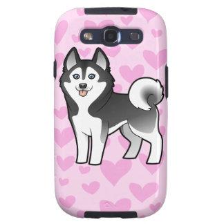 Amor del husky siberiano/del Malamute de Alaska Samsung Galaxy S3 Protectores
