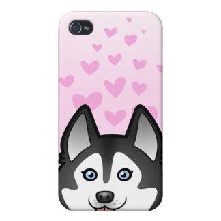 Amor del husky siberiano/del Malamute de Alaska iPhone 4/4S Carcasas