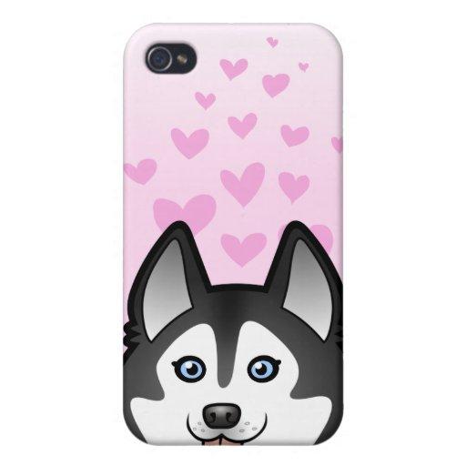 Amor del husky siberiano/del Malamute de Alaska iPhone 4/4S Carcasa