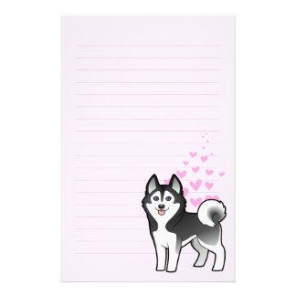 Amor del husky siberiano/del Malamute de Alaska Papelería De Diseño