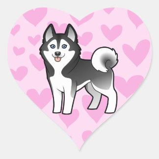 Amor del husky siberiano/del Malamute de Alaska Pegatina En Forma De Corazón