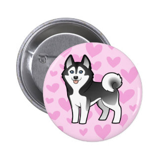 Amor del husky siberiano/del Malamute de Alaska Pin Redondo 5 Cm