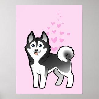 Amor del husky siberiano/del Malamute de Alaska Póster
