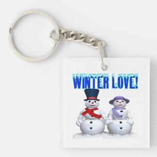 Amor del invierno llavero cuadrado acrílico a una cara
