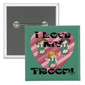 Amor del joven I mi corazón de la tropa Pin Cuadrada 5 Cm