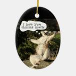 Amor del Lemur usted este día de padres mucho Adorno Navideño Ovalado De Cerámica