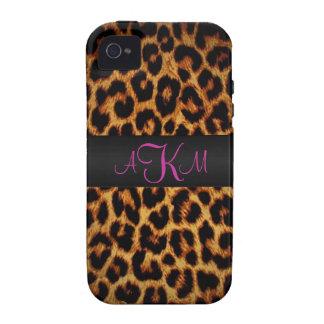 Amor del leopardo con monograma iPhone 4/4S funda