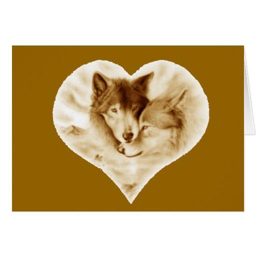 Amor del lobo tarjeta de felicitación