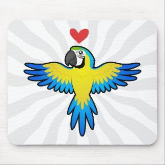 Amor del Macaw/del loro Alfombrillas De Ratones