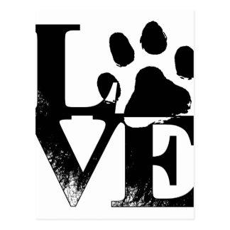 Amor del mascota - impresión de la pata postales