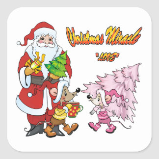 Amor del milagro del navidad calcomanía cuadradas