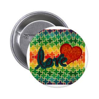 Amor del modelo del corazón pin redondo 5 cm