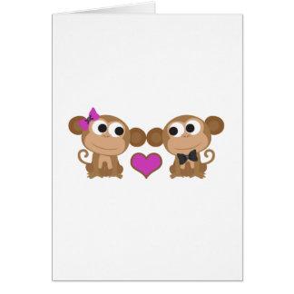 Amor del mono tarjeta pequeña