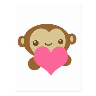Amor del mono tarjeta postal