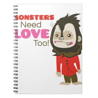 Amor del monstruo libro de apuntes con espiral