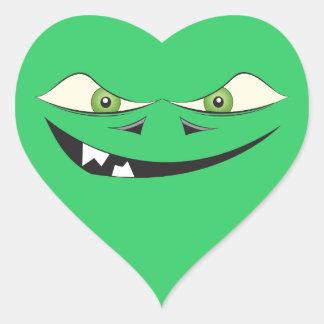 Amor del monstruo pegatina en forma de corazón