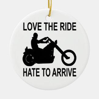 Amor del motorista el odio del paseo a llegar adornos de navidad