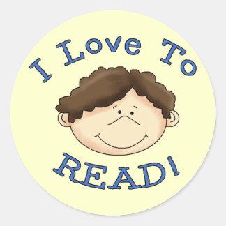 Amor del muchacho I para leer las camisetas y los Etiquetas Redondas