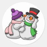 Amor del muñeco de nieve pegatinas redondas