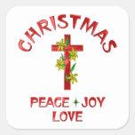Amor del navidad calcomanía cuadradase
