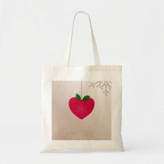 Amor del navidad, corazón romántico y copos de bolsa tela barata