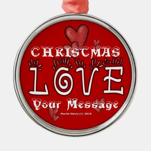 Amor del navidad - personalizar - ornamento adorno navideño redondo de metal