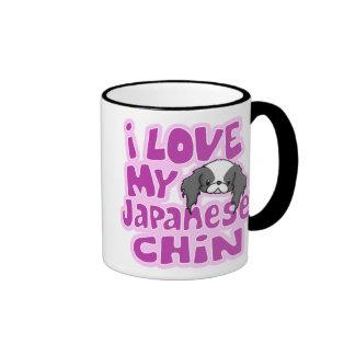 Amor del negro I de Kawaii mi Chin japonés Taza De Dos Colores