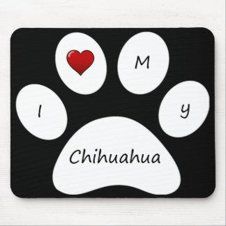 Amor del negro I mi cojín de ratón de la chihuahua Alfombrillas De Ratón