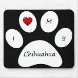 Amor del negro I mi cojín de ratón de la chihuahua Tapetes De Raton