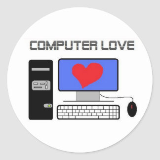 Amor del ordenador pegatina redonda