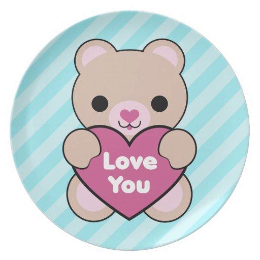 Amor del oso de Kawaii que usted platea Platos De Comidas