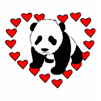 Amor del oso de panda adorno fotoescultura