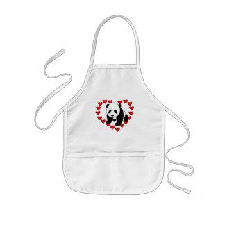 Amor del oso de panda delantales