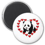 Amor del oso de panda imanes de nevera