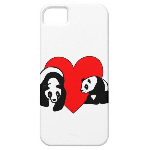 Amor del oso de panda iPhone 5 carcasas