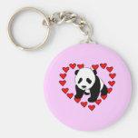 Amor del oso de panda llavero redondo tipo pin