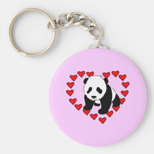Amor del oso de panda llaveros