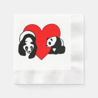 Amor del oso de panda servilleta desechable