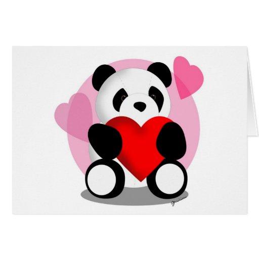 Amor del oso de panda tarjetón