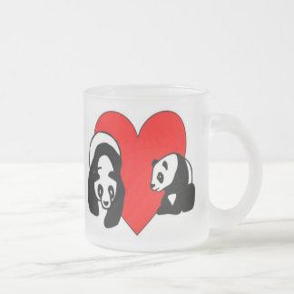 Amor del oso de panda taza cristal mate