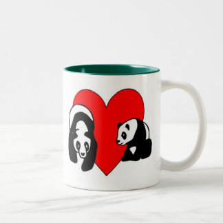 Amor del oso de panda taza dos tonos
