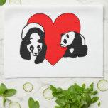 Amor del oso de panda toalla