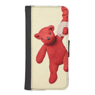 Amor del oso de peluche fundas billetera para teléfono