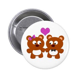 Amor del oso de peluche pin redondo de 2 pulgadas