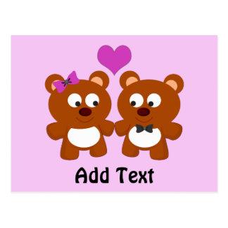 Amor del oso de peluche postales