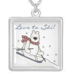 Amor del oso polar a esquiar camisetas y regalos colgante personalizado