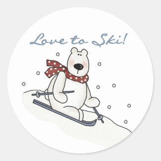 Amor del oso polar a esquiar camisetas y regalos etiquetas redondas