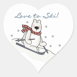 Amor del oso polar a esquiar camisetas y regalos calcomanía de corazón
